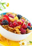 Cornflakes and fruits Royalty Free Stock Images
