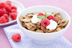 Cornflakes and fruits. In bowl Stock Image