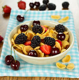 Cornflakes with fruits Stock Photo