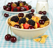 Cornflakes with fruits Stock Images