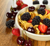 Cornflakes with fruits Stock Photography