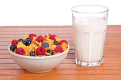 Cornflakes with fruits and milk tumbler Royalty Free Stock Images