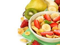 Cornflakes with fruits Royalty Free Stock Photos
