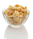 Cornflakes in a glass bowl Stock Image