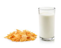Cornflakes and glass of milk Royalty Free Stock Photo