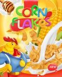 Cornflakes, haanmascotte Honing en melkplonsen 3d vector, pakketontwerp vector illustratie