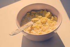 Cornflakes i en rosa platta med en sked för frukost, i de ljusa strålarna av solen tonat Arkivbild