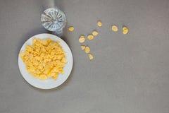 Cornflakes i en vit kopp och ett exponeringsglas med vatten på en grå bakgrund, estetik av kaos arkivfoto