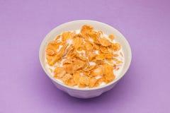 Cornflakes met melk bij roze achtergrond Stock Foto