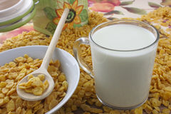 Cornflakes and milk Stock Images