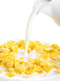 Cornflakes with milk for breakfast Stock Photo