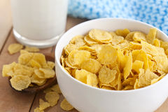 cornflakes with milk for breakfast Stock Photos