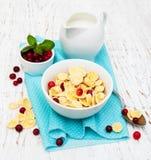 Cornflakes with milk Stock Photos