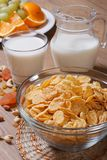 Cornflakes with milk and dried fruit. Royalty Free Stock Photography