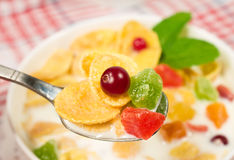 Cornflakes with milk, fruit and berries Royalty Free Stock Photos