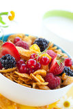 Cornflakes with milk and fruits. Bowl of cornflakes with milk and fruits Stock Image