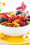 Cornflakes with milk and fruits. Bowl of cornflakes with milk and fruits Royalty Free Stock Photo