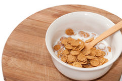 Cornflakes with milk in the white bowl Royalty Free Stock Image