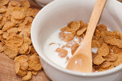 Cornflakes with milk in the white bowl Stock Photography