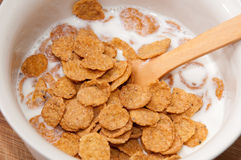 Cornflakes with milk in the white bowl Royalty Free Stock Images