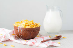 Cornflakes with milk Stock Photos