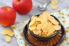Cornflakes och äpplen Royaltyfri Bild