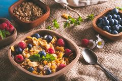 Cornflakes and other cereals with fresh fruits. Of raspberries, blueberries and milk on healthy breakfast Royalty Free Stock Photos