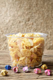 Cornflakes in plastic bowl Royalty Free Stock Image