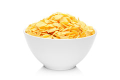 Cornflakes in porcelain bowl Stock Photos