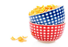 Cornflakes in a porcelain bowl Stock Image