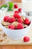 Cornflakes with raspberries Royalty Free Stock Photo