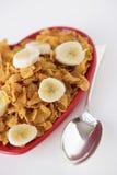 Cornflakes & sliced banana Stock Photos