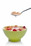 Cornflakes on the spoon Stock Images