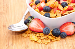 Cornflakes with Strawberries and Blueberries Stock Photo