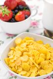 Cornflakes with strawberries and blueberries Royalty Free Stock Image
