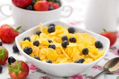 Cornflakes with strawberries and blueberries Royalty Free Stock Photo