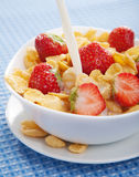 Cornflakes with strawberry Stock Image