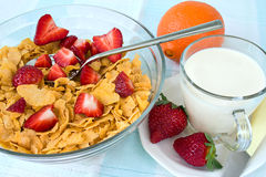 Cornflakes with strawberry and milk Royalty Free Stock Images