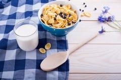 Cornflakes, tasse avec du lait frais, fleur et cuillère image libre de droits