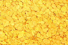 Cornflakes. Texture of corn pile-closeup Stock Photos