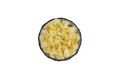 Cornflakes w brudno- tradycyjnym szklanym pucharze z stojakiem Strzelający od above Fotografia Royalty Free