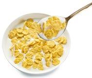 Cornflakes w pucharze na białym tle fotografia stock