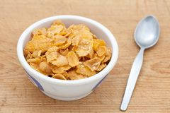 Cornflakes in a white bowl Stock Photography