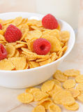 Cornflakes in a white bowl. With raspberry on the table Royalty Free Stock Image