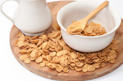 Cornflakes on the wooden spoon Royalty Free Stock Photography