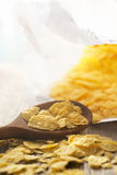Cornflakes in wooden spoon Royalty Free Stock Image