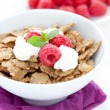 Cornflakes with yogurt Royalty Free Stock Photos