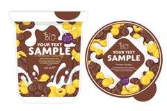 Cornflakes Yogurt Packaging Design Template. Royalty Free Stock Photos