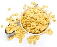Cornflakes zboże na białym pucharze zdjęcia stock