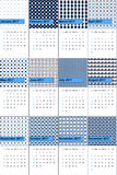Cornflower blue and black pearl colored geometric patterns calendar 2016 Stock Images